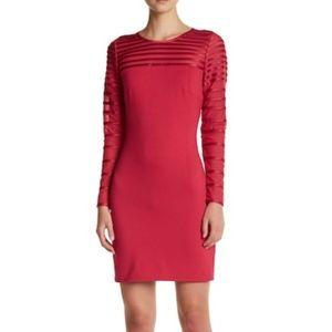 Halston Heritage Yoke Sheath Dress Raspberry Mesh